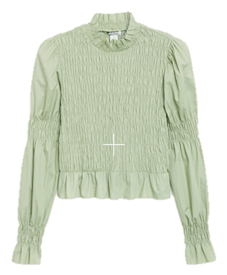 A picture containing clothing, person, standing, green Description automatically generated