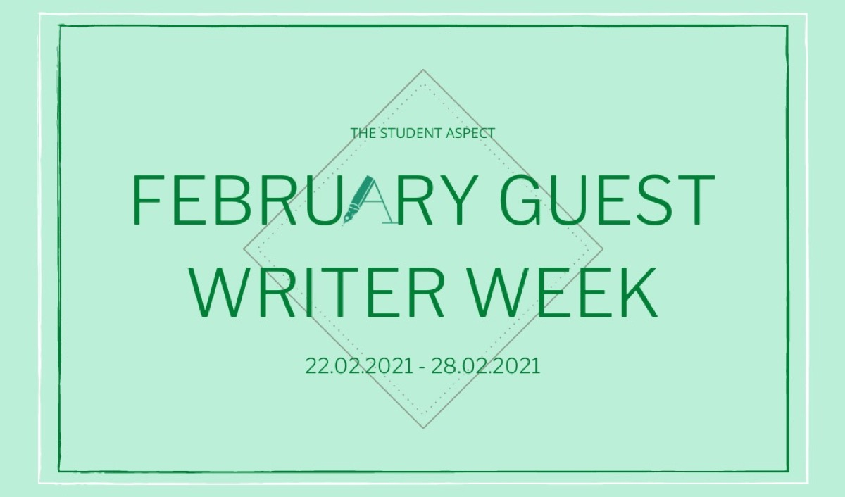 This image shows a banner promoting guest writer week. The text says 'February Guest Writer Week.'