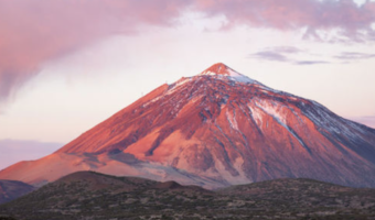 In the image, you can see Mount Teide. There is some snow on the peaks.