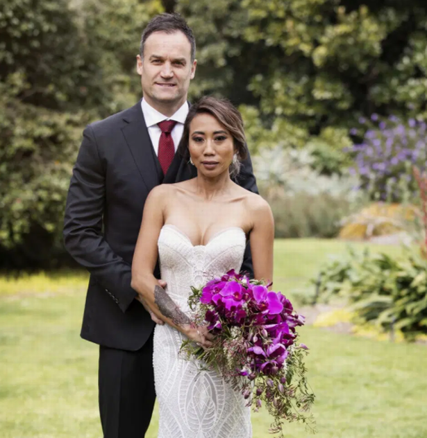 MAFS stars Ning Surasiang and Mark Scrivens are pictured here on their wedding day.