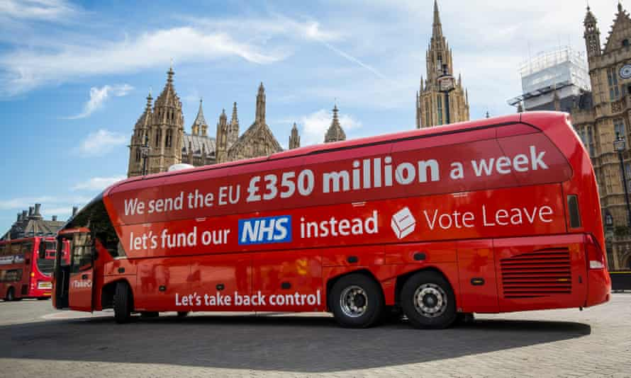This image shows the famous brexit bus for the leave campaign driving past the houses of parliament.
