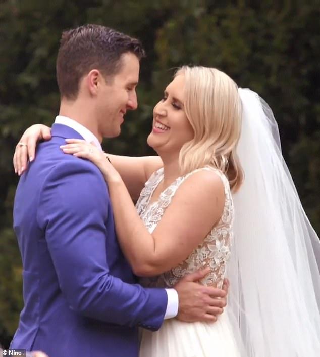 MAFS stars lauren huntriss and matthew bennett are pictured here on their wedding day.