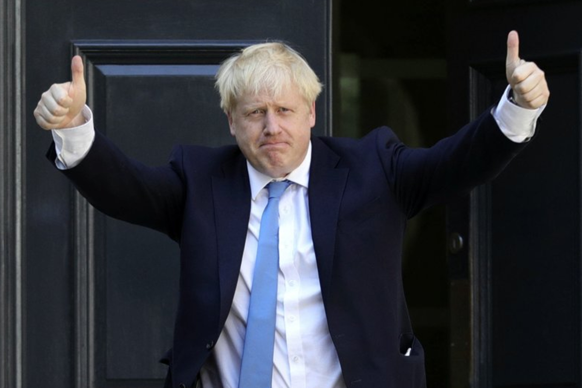 Boris Johnson, Prime Minister of the United Kingdom is pictured here outside 10 Downing Street with his thumbs up.