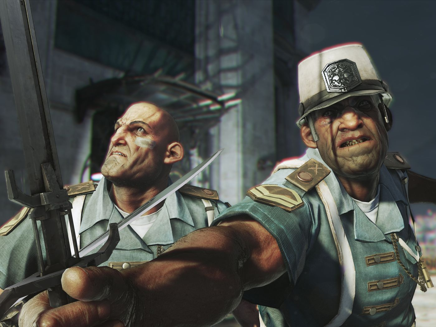 Two soldiers, wearing light blue uniforms that have military badges on them. They are both holding swords, ready to attack. One of them is wearing a white hat, which probably makes his status known.