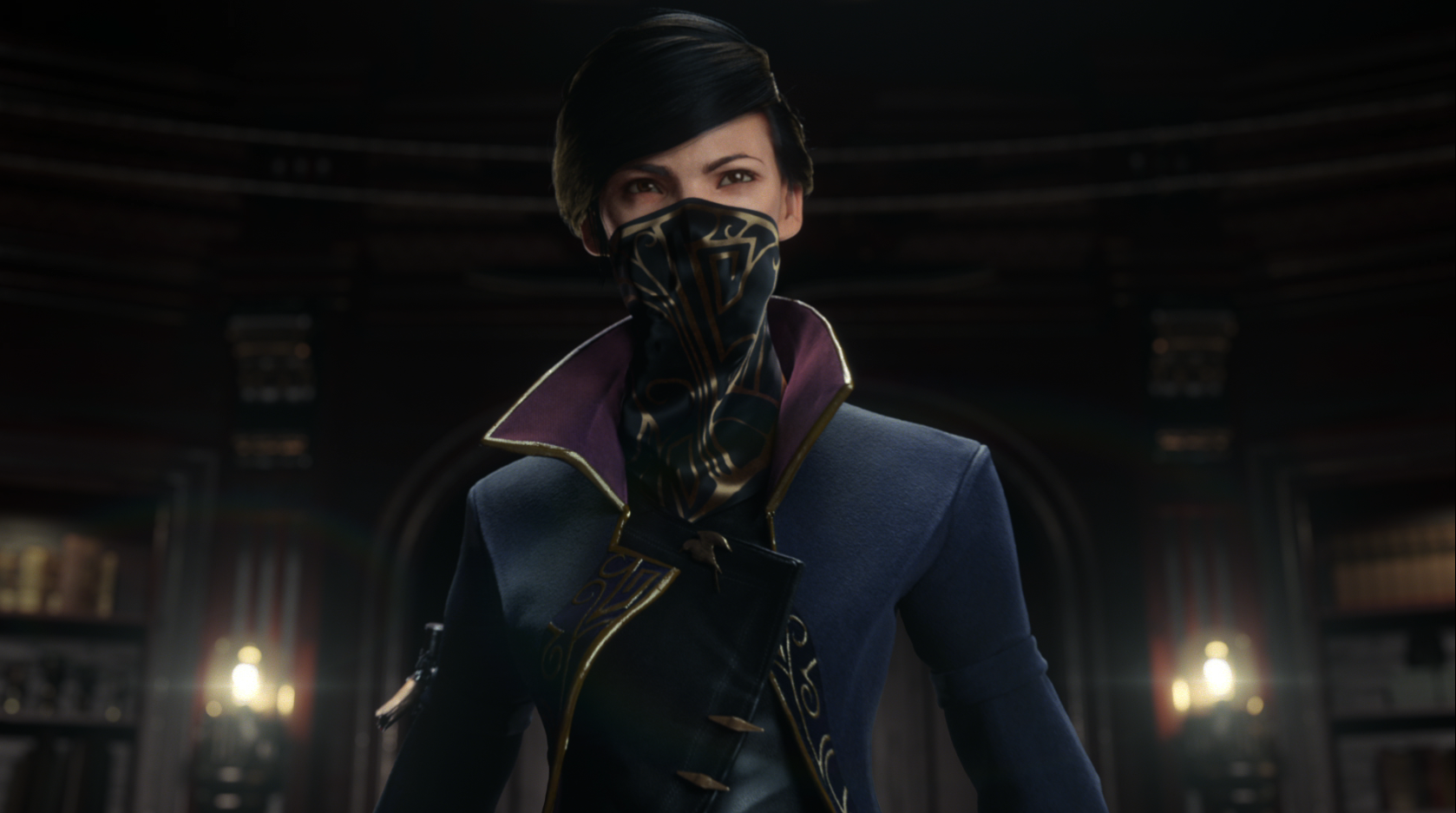Emily, the main character, is wearing a blue coat with a purple, high-necked collar. She is also wearing a black mask that has gold decoration on it; it covers the bottom half of her face. Behind her is a wall of bookshelves and candles.