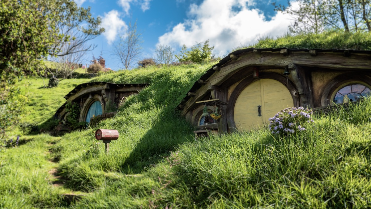 This image shows the movie set 'Hobbiton' in New Zealand. The small hobbit houses are built into the face of the hillside. The sky is blue but cloudy in the background.