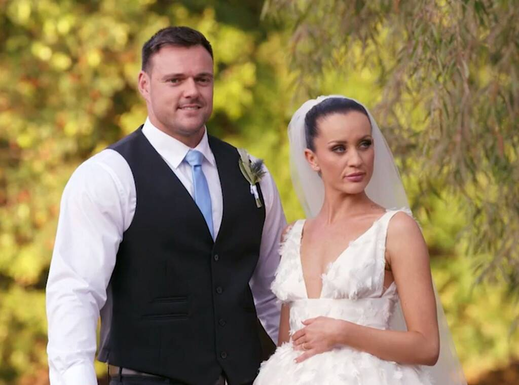 MAFS stars Ines Basic and Bronson Norrish are pictured here on their wedding day.