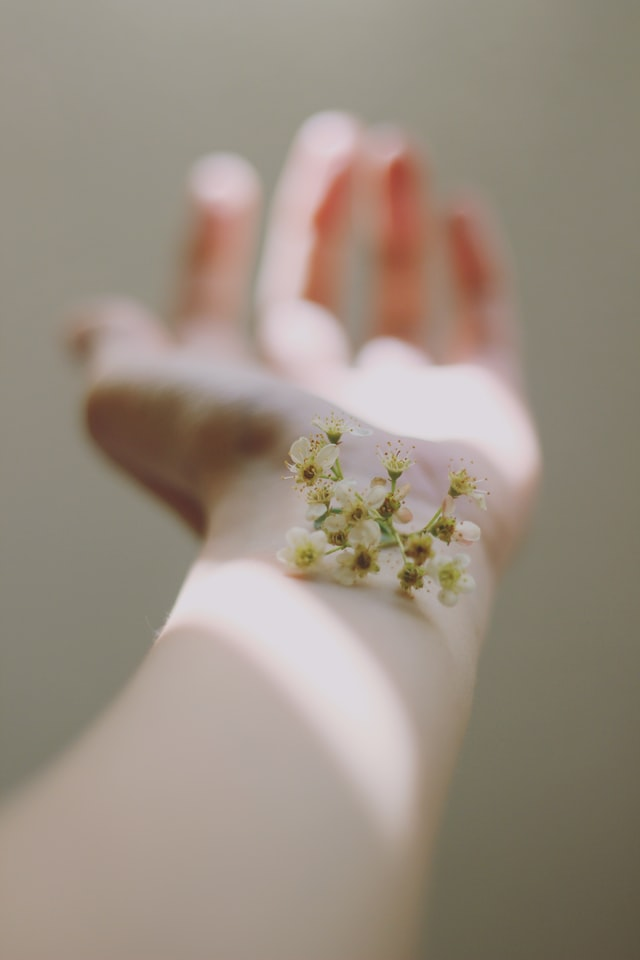 A forearm that has a stem of white flowers on top of it.