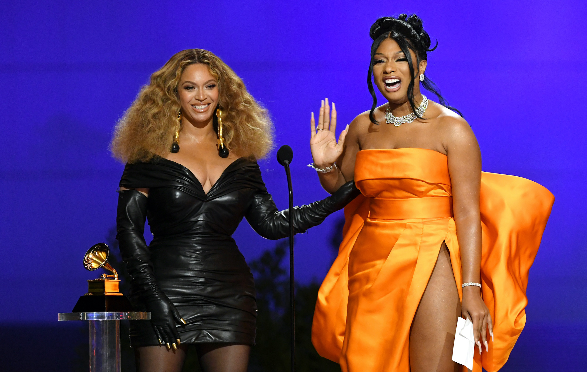 Beyonce and Megan The Stallion are pictured here at the 2021 Grammys.
