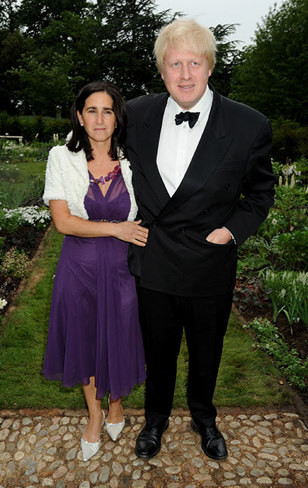 Boris Johnson is pictured here in a black suit and bow tie with ex-wife, Marina Wheeler.
