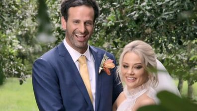 MAFS stars jessika power and mick gould are pictured here on their wedding day.