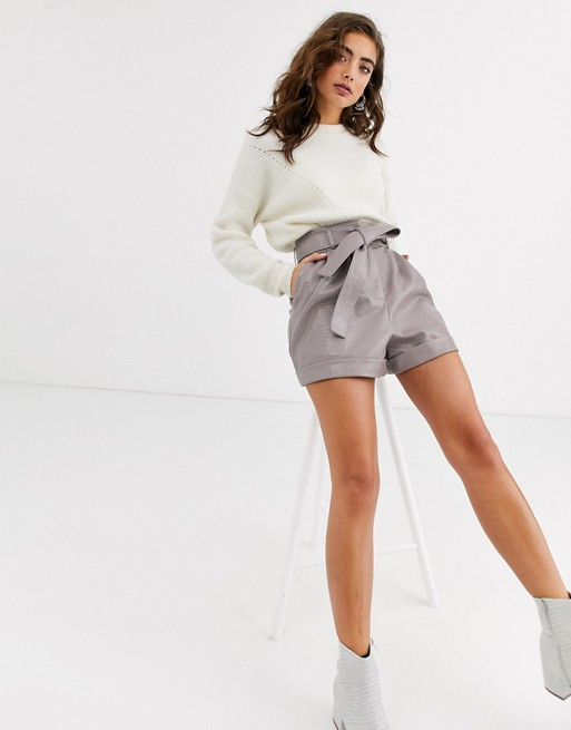 Topshop croc faux leather shorts in taupe