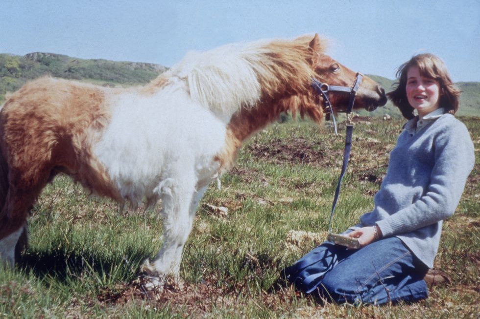 Lady Diana is pictured as a teenager with her pet pony Scuffle.