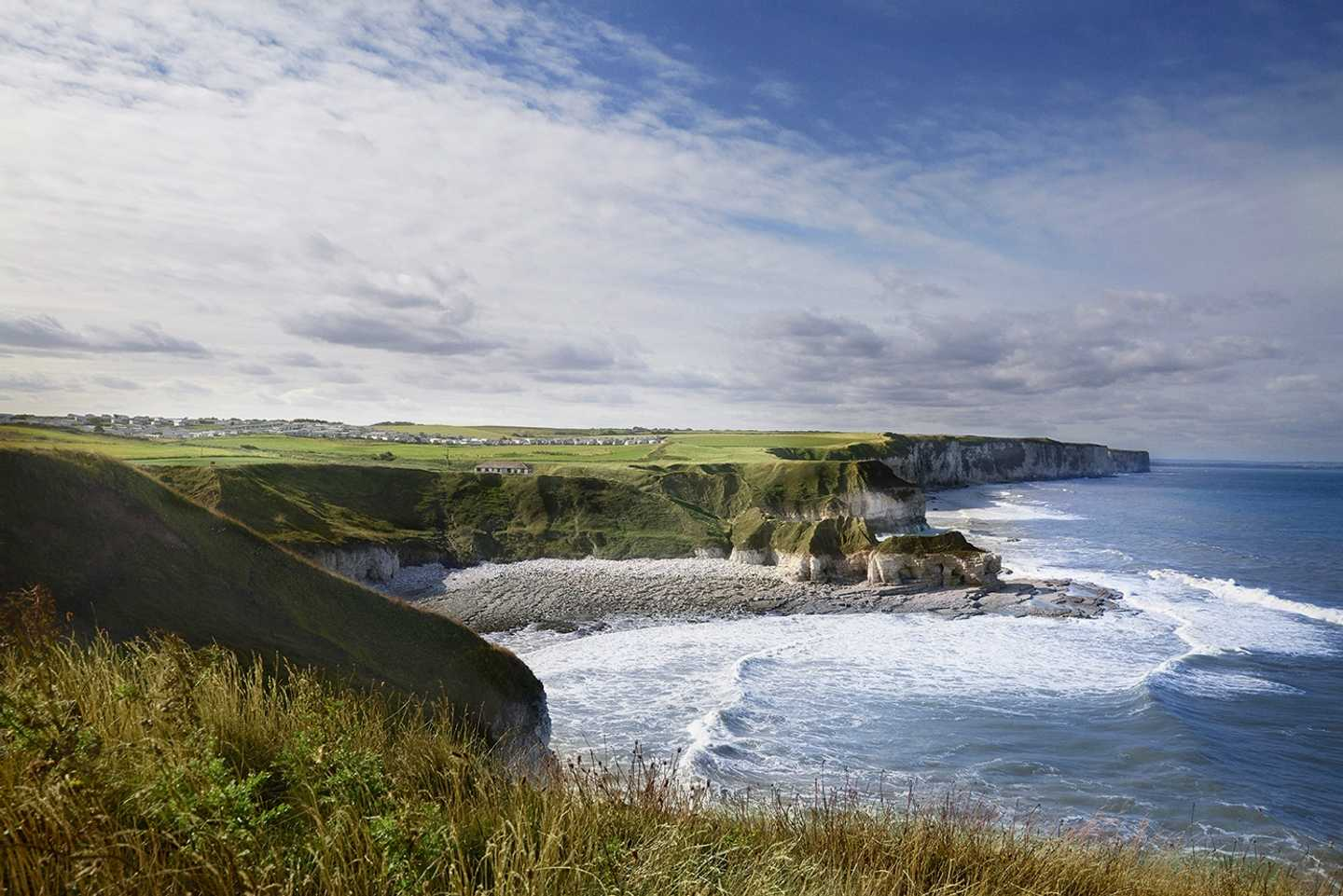 This image shows one of Yorkshire's treasures,  Thornwick Bay, Flamborough.