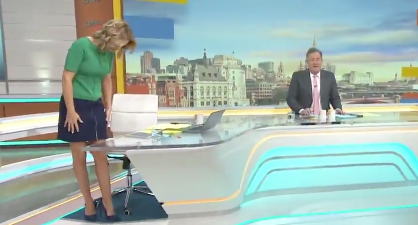 On the GMB set, Piers Morgan is pictured here ridiculing co-host Charlotte Hawkins for the length of her dress.