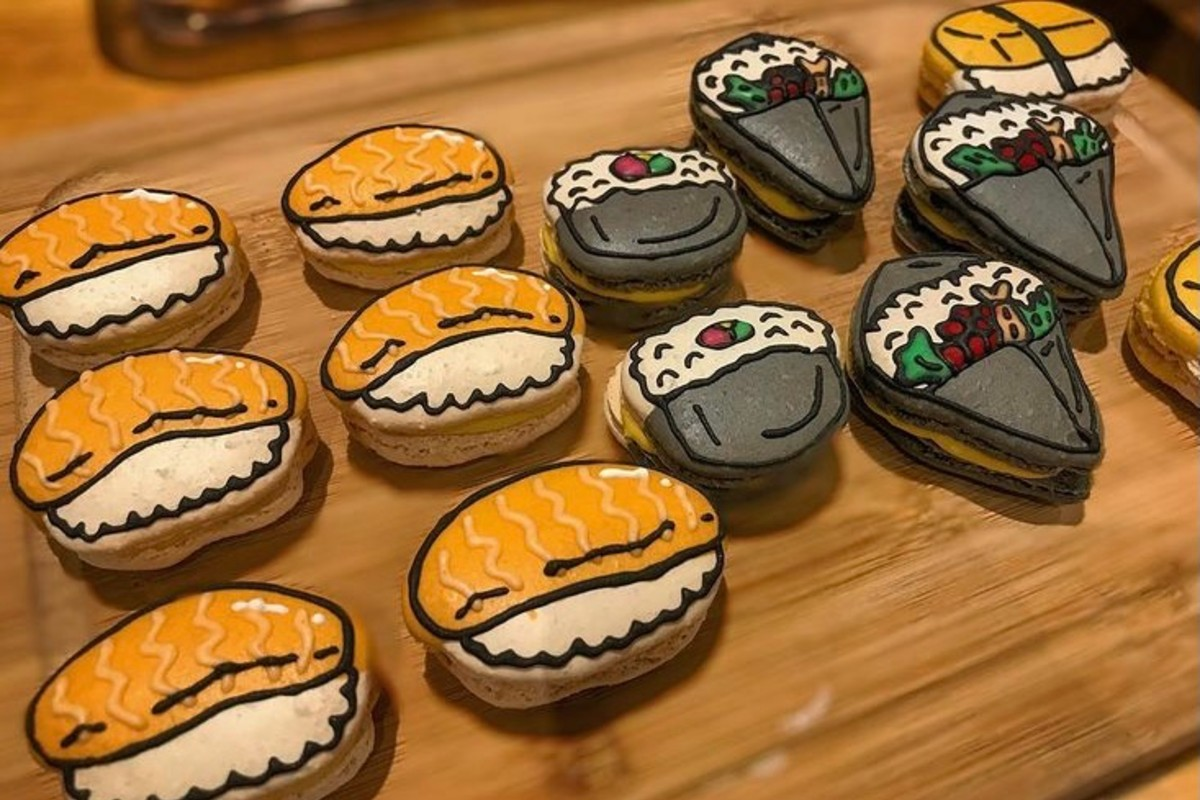 In this image, a variety of sushi decorated macarons that Arisa made, are on display.