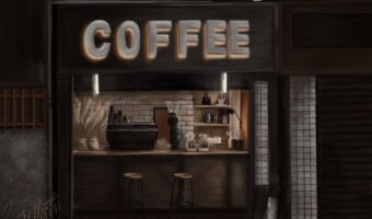 This image shows Emma Hibbert's painting of a coffee shops.