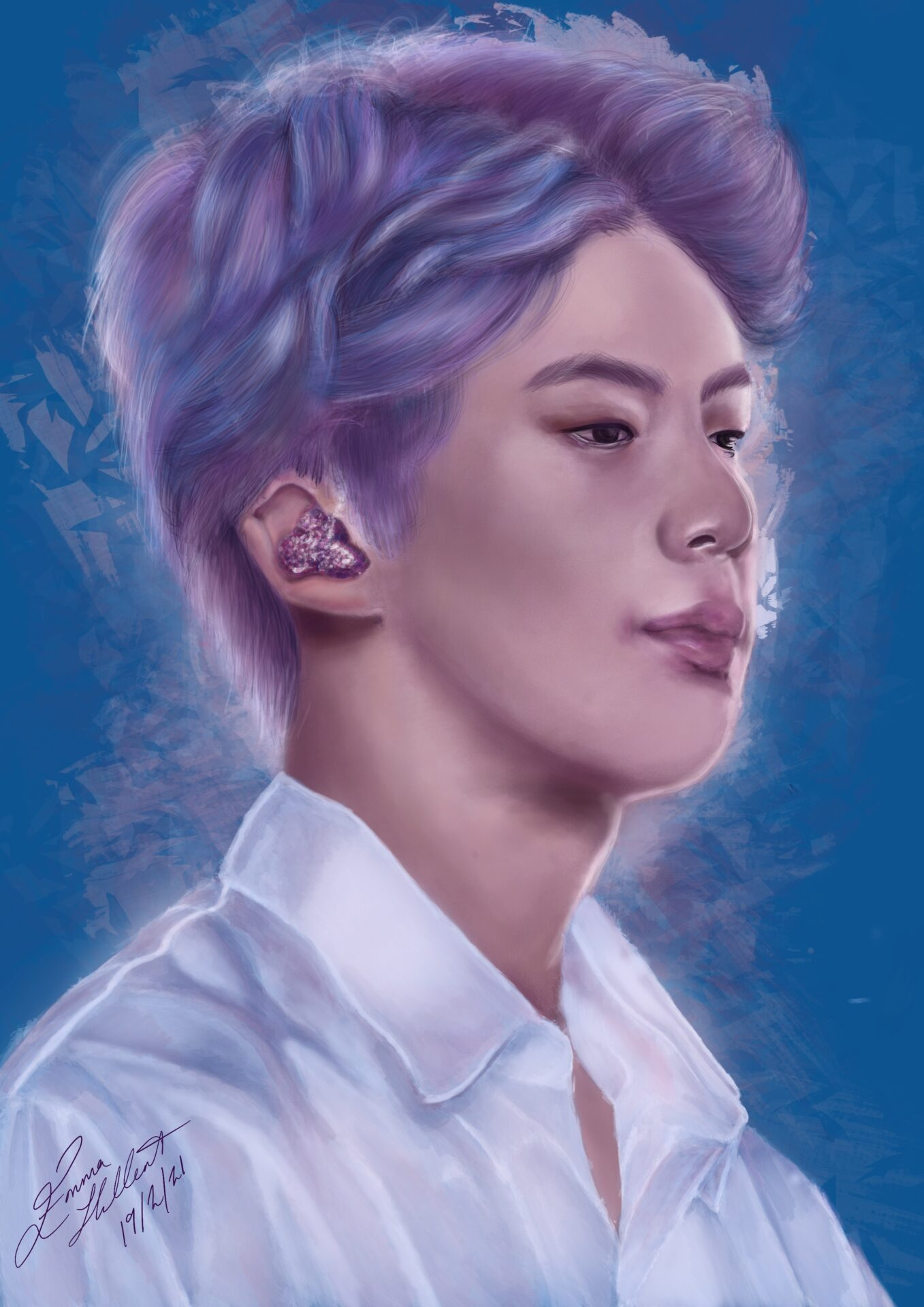 Emma has painted a portrait of Jin from BTS. In the painting, he is wearing a white t-shirt and has purple hair. As he is on stage, he has an ear-monitor in his ear.