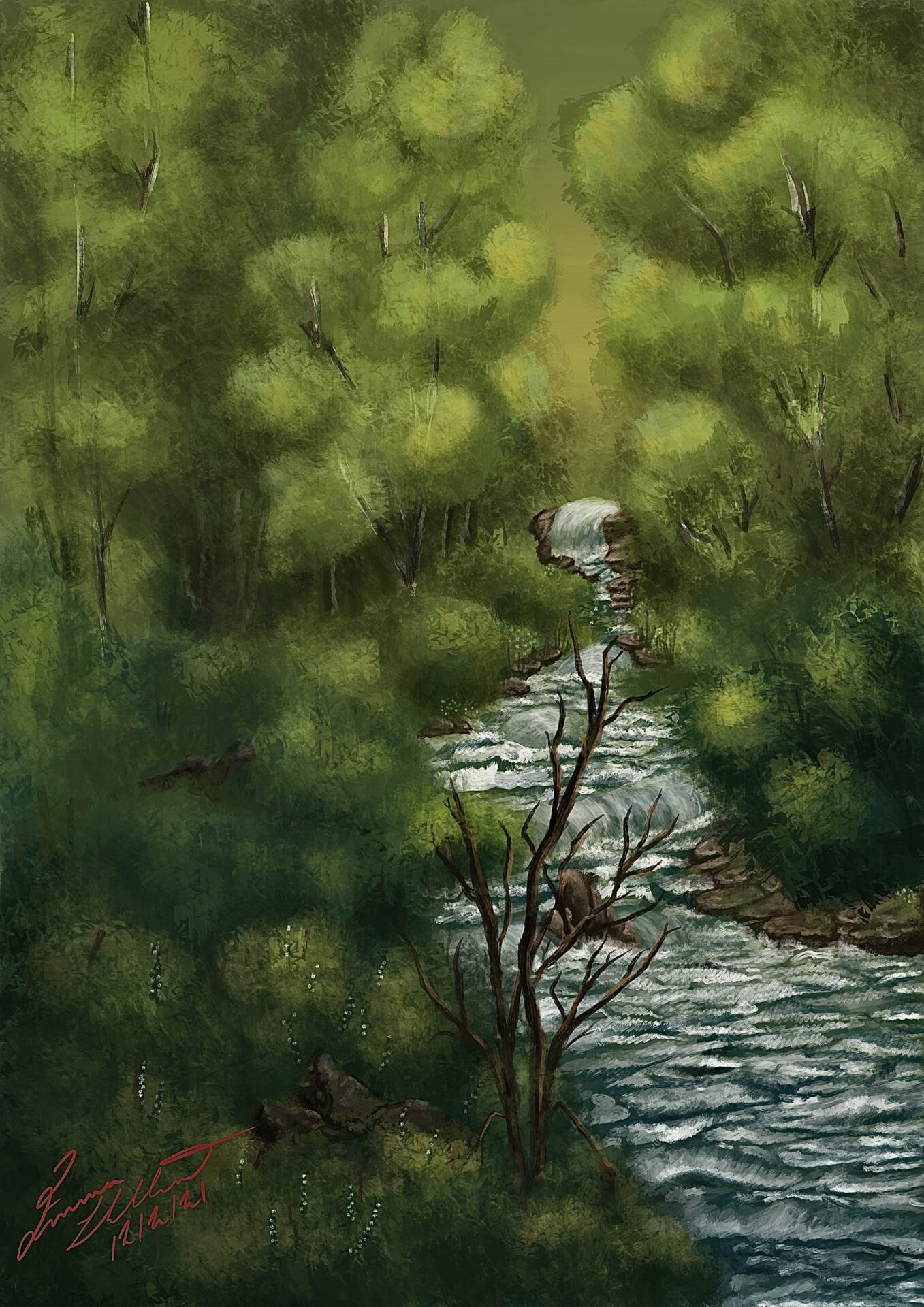 Emma has painted lots of thin, green trees. She has also painted a blue river rushing through the painting.