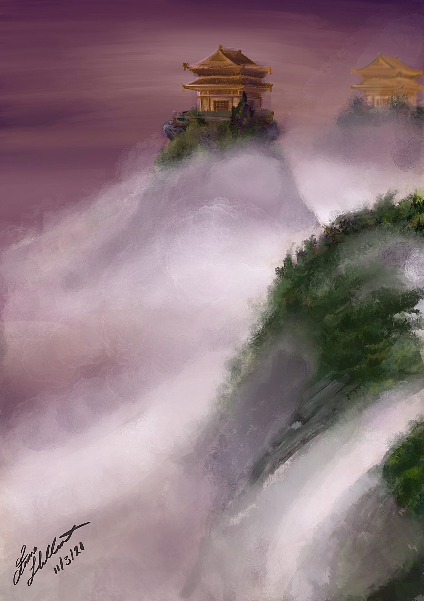 Emma has painted golden temples on top of very narrow hills. Between these green hills, mist and cloud flows.