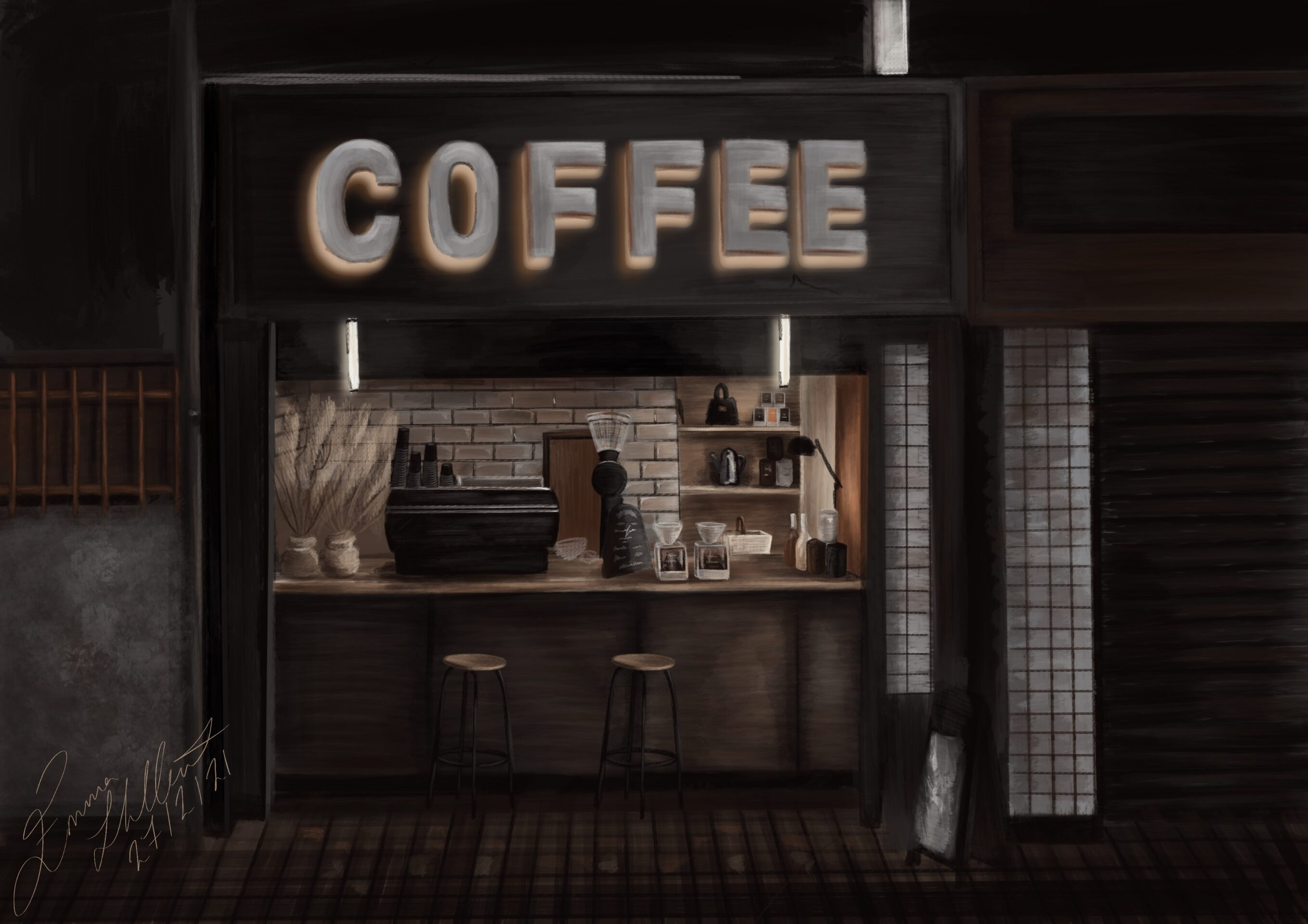 Emma's painting is quite dark, with everything being different shades of brown, black and white. The painting is of a coffee shop, with a large, white sign saying 'COFFEE' above the entrance. Inside the shop, there is the bar where two stools sit. On the bar is a coffee machine and multiple jars. Behind the bar is a shelf of more jars, a wooden door and a white-tiled wall.