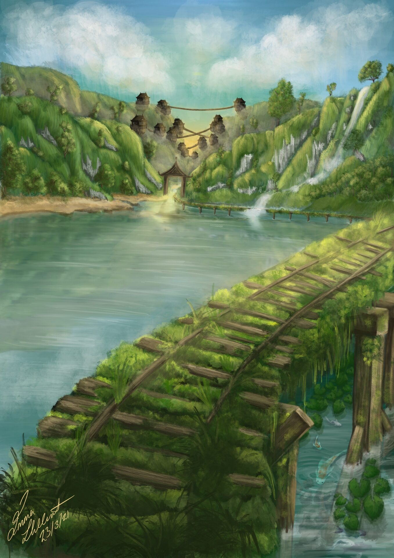 Emma has painted a valley with a river at the bottom, different hues of blue. At the bottom of the painting is the entrance to a wooden bridge covered in moss. The bridge curves to the right of the painting. At the end of the valley, there is a village.