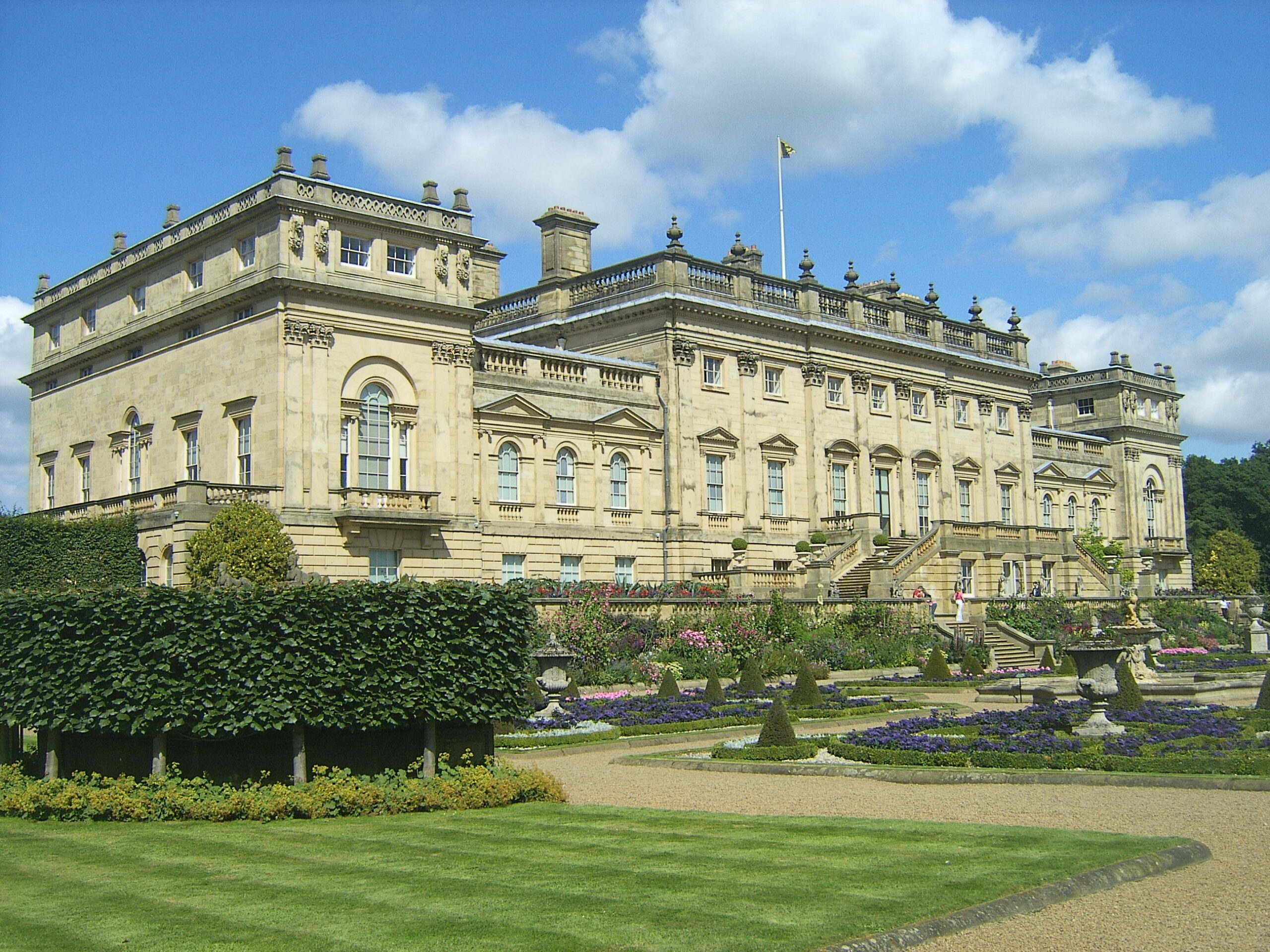 This image shows Harewood Castle, Leeds from the perspective of the garden.
