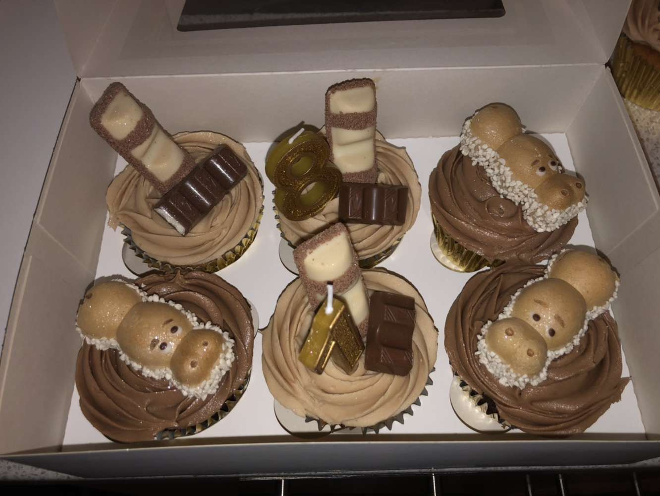 This is a photo taken by Sian Freeman of her Kinder Cupcakes from her family-friendly recipe.