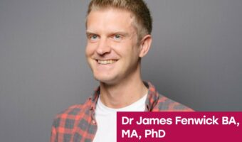 This image is a smiling headshot of Sheffield Hallam University Professor, James Fenwick.