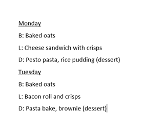 Hope created an image of a list. The first list is a breakdown of meals on Monday and the second is exactly the same but for Tuesday.