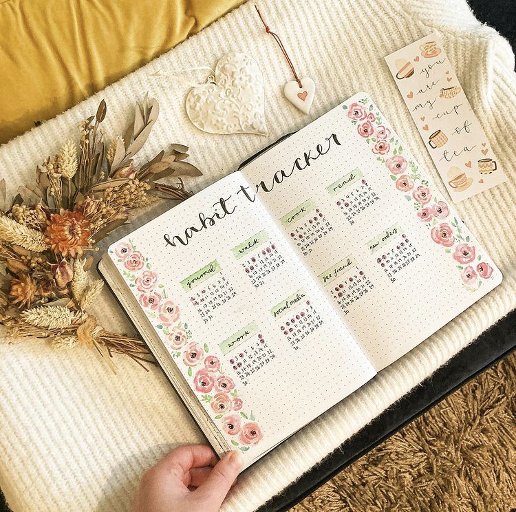 In Megan's image, the notebook is wide open and displaying a habit tracker. Each side of he page is decorated in pink roses. surrounding the notebook are some flowers and a bookmark.