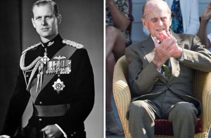 A before and after of Prince Philip is shown here, from his early Naval and Royal days, to his later days.
