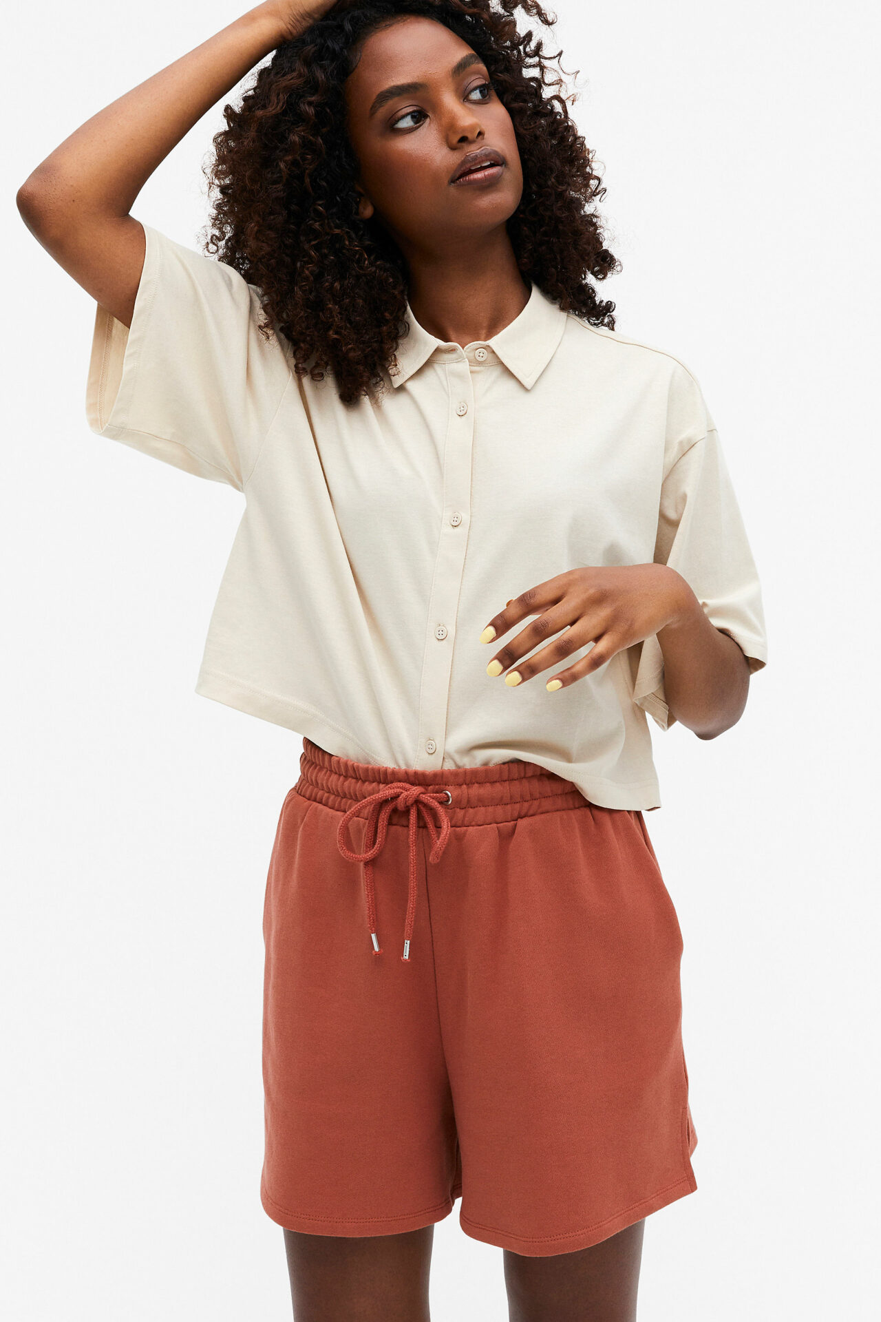 Monki's Cotton sweat shorts in the colour, light rust.