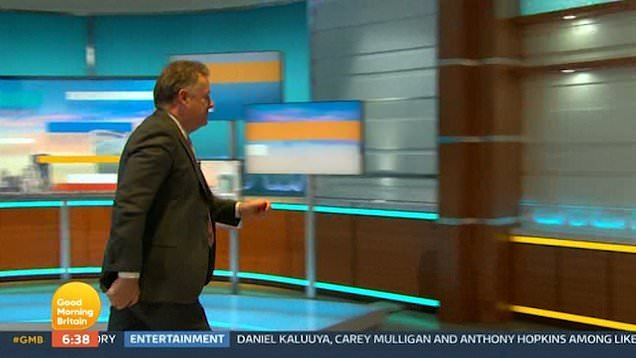 Piers Morgan is pictured here storming off the set of Good Morning Britain.