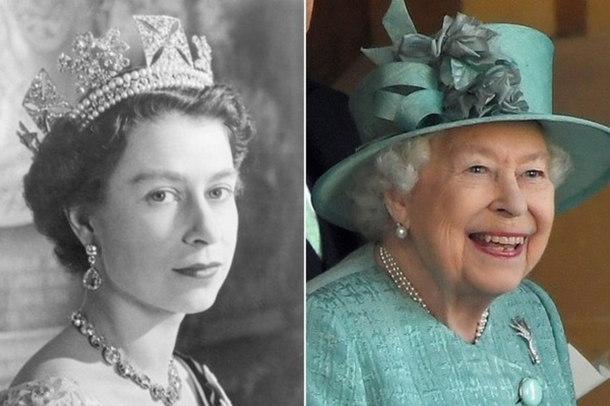 Two images of the Queen are shown side by side, one when she was first crowned, as a young woman in her 20s, and the next in her 90s.