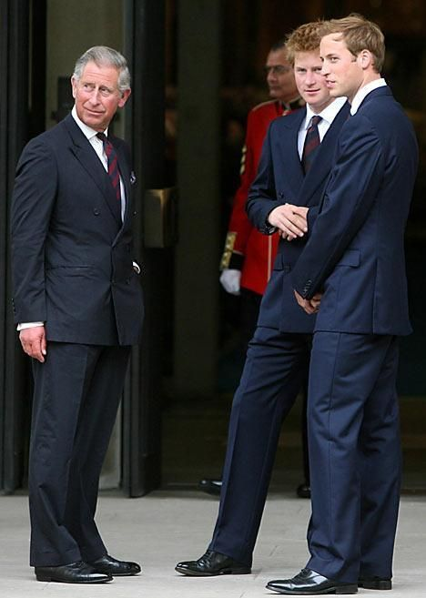 This image shows Charles, Harry and William standing together wearing suits to mark the 10th anniversary of Diana's passing.