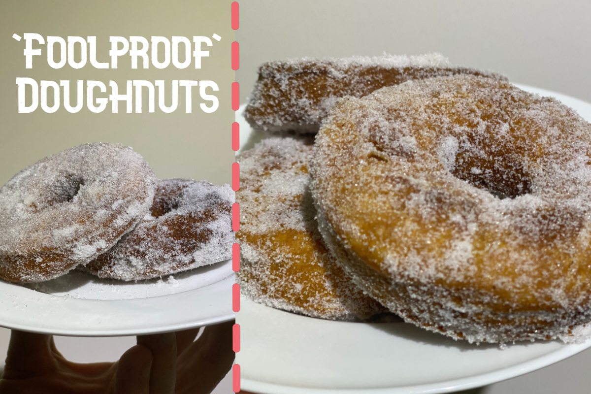 The 'foolproof' doughnut recipe is pictured here with sugar dusted doughnuts pictured in a collage.