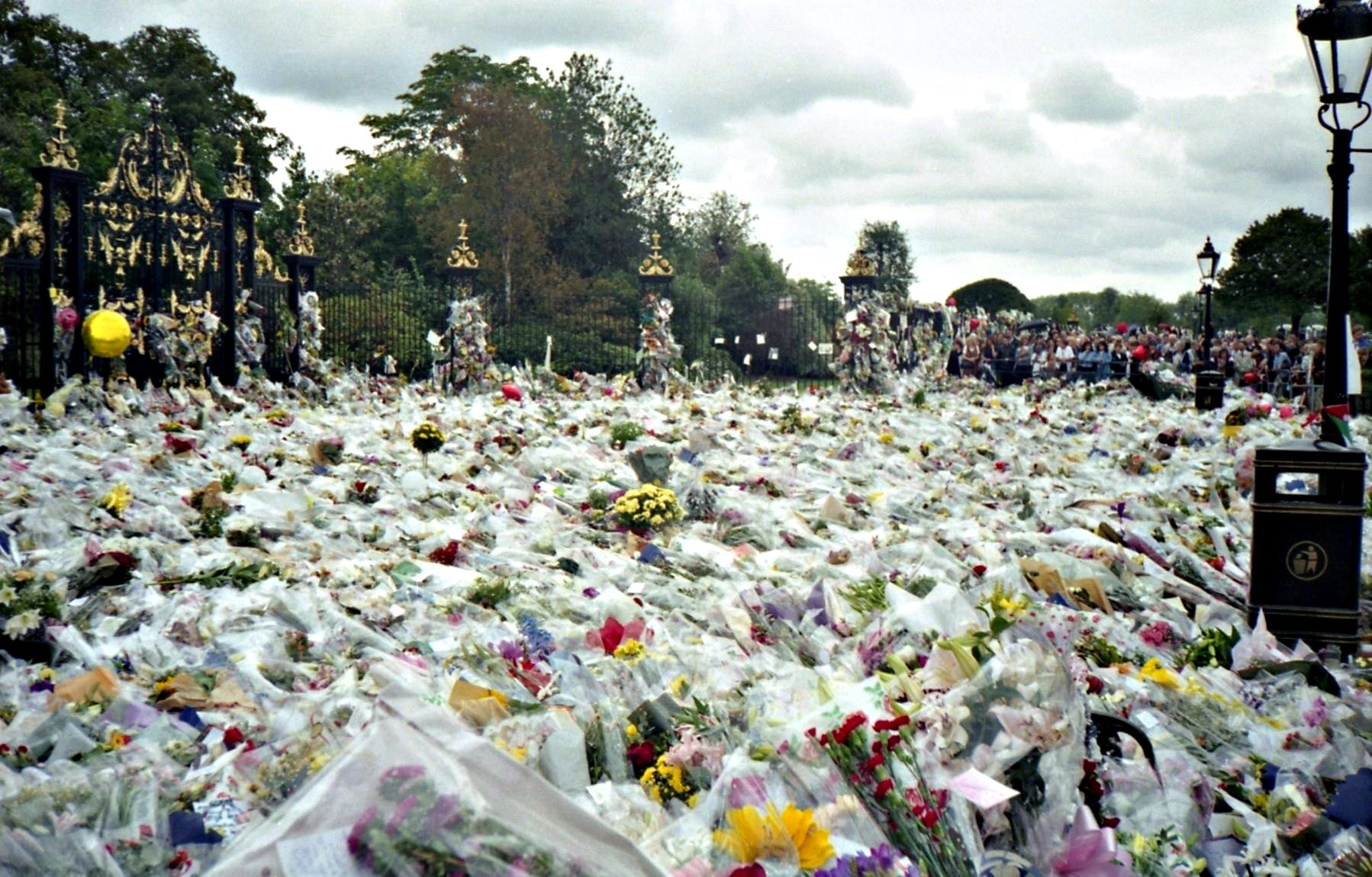 This picture shows the thousands of flowers left outside Buckingham Palace on the day of Diana's funeral.
