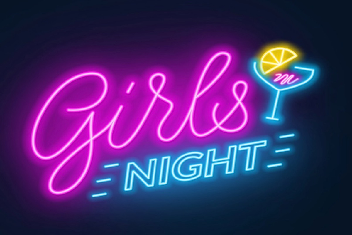 This image shows a poster that says Girls night. The word girls is in pink neon and the word Night is in neon blue. There is also a neon drawing of a cocktail.