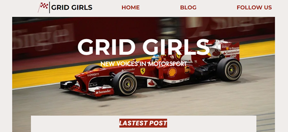 This image is a screen shot of what the Grid Girls website look like. It is their website home screen and shows the name Grid Girls in bold, white writing. Behind their name is a picture of a Red Bull race car.