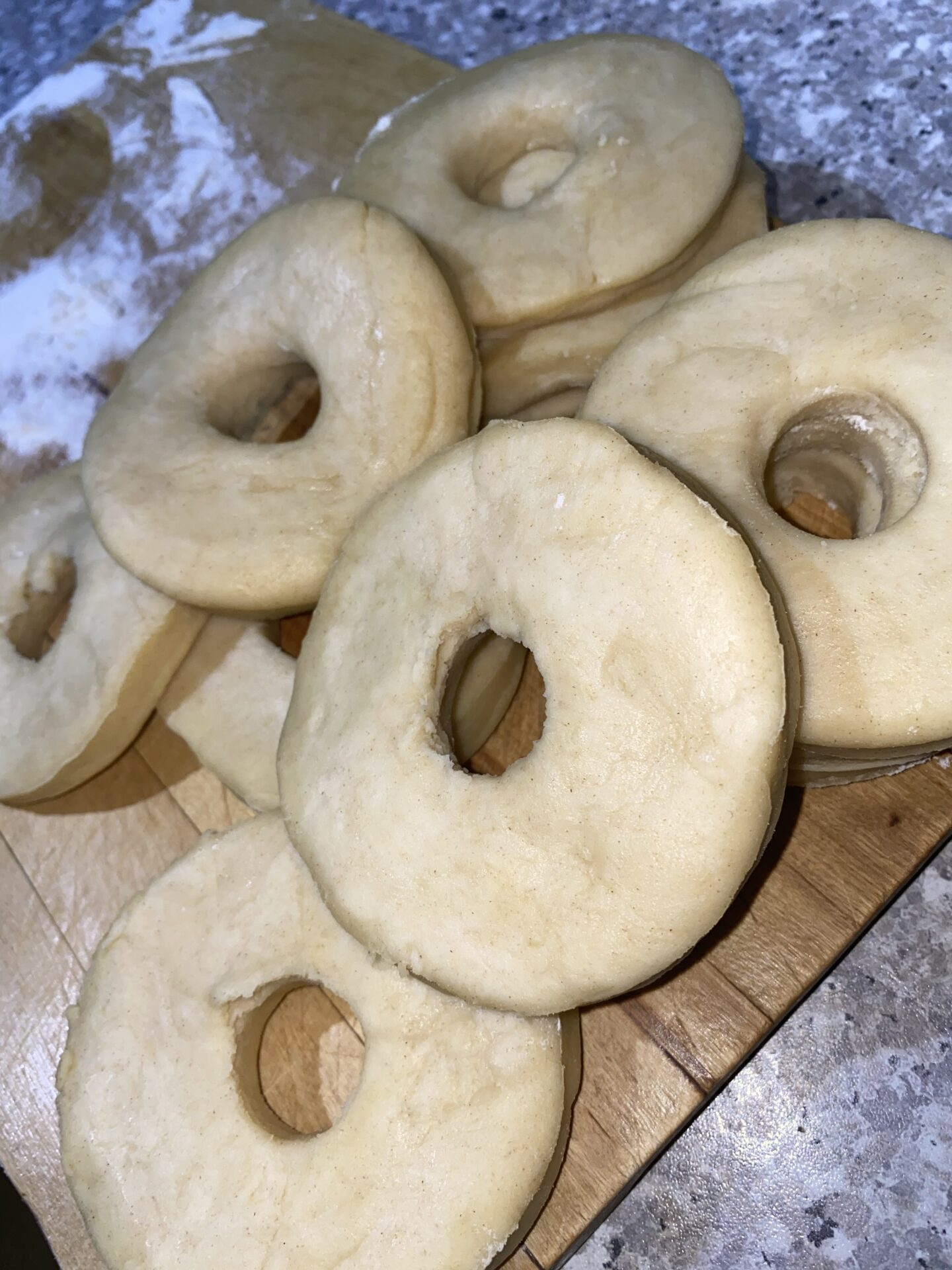 This image shows the formed dough for the doughnut recipe.