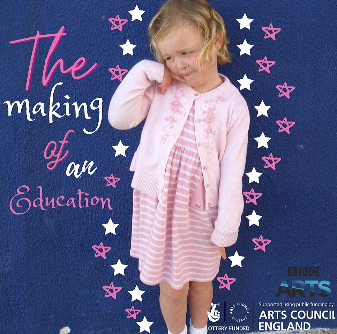 This is a promotional image of Izzy Radford's Making Of An Education. Here, a young Izzy Radford is pictured here in a pink dress, posing.