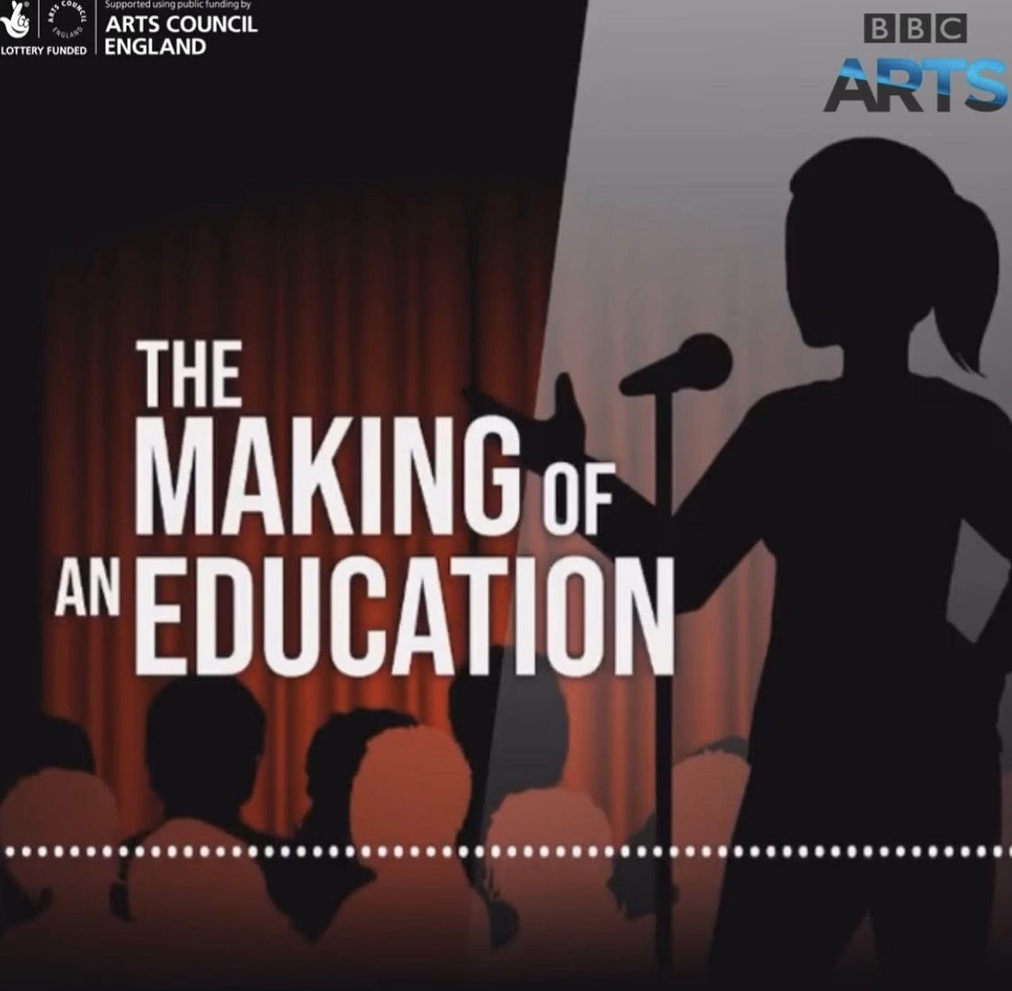 This is a promotional image of Izzy Radford's Making Of An Education. This image shows a stage with a cartoon girl speaking into a microphone.
