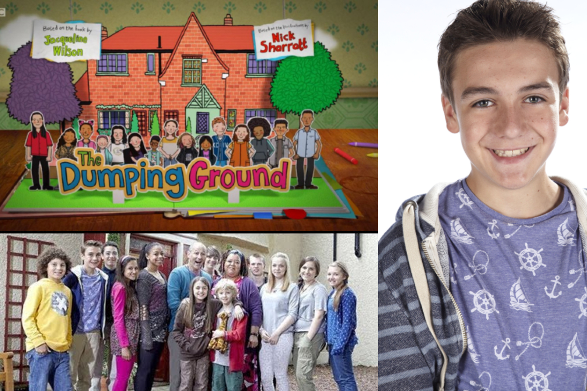This image shows a collage featuring three images. The top right image shows the opening creidts of The Dumoing Ground with the cast pictured in the bottom left. To the right is a picture of Joe Maw as his character Johnny Taylor as a young teen.
