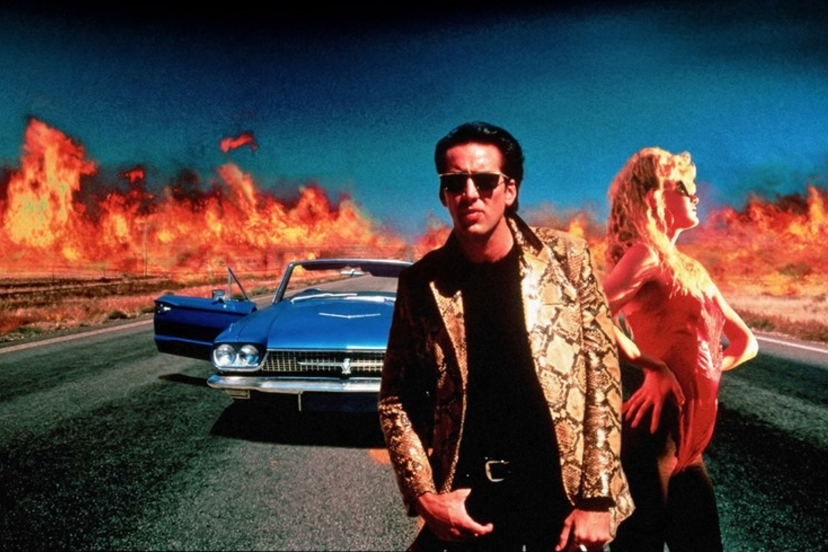 This image shows the iconic photography and scene from the David Lynch classic, Wild At Heart (1990).