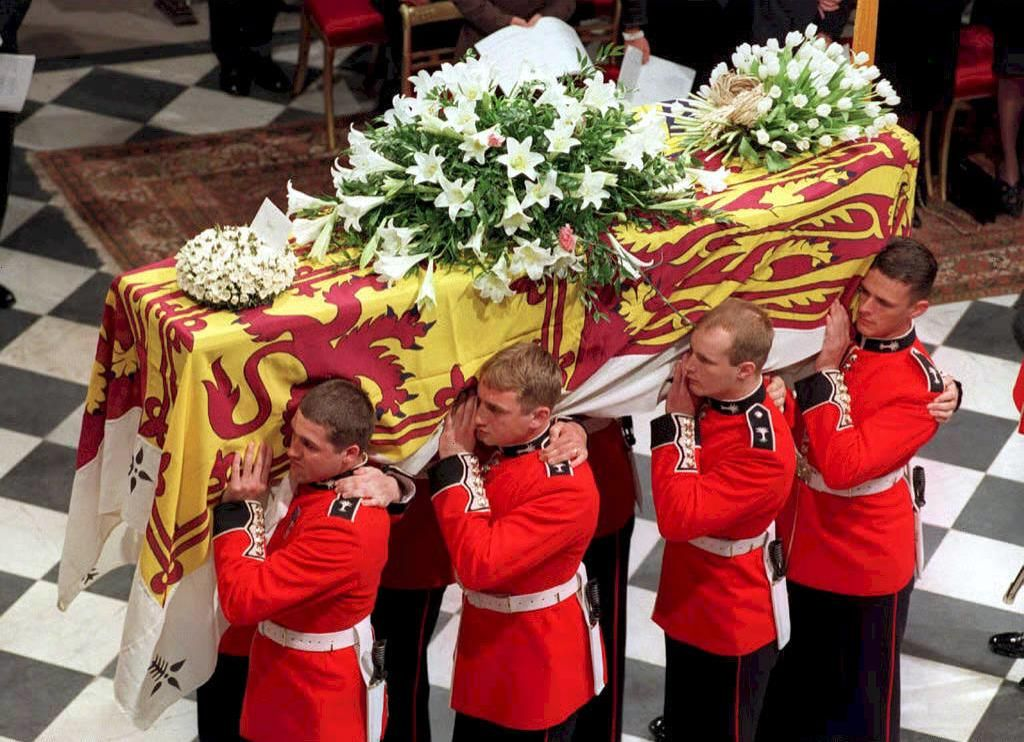 This image shows soldiers as they carried Diana's coffin at her funeral.
