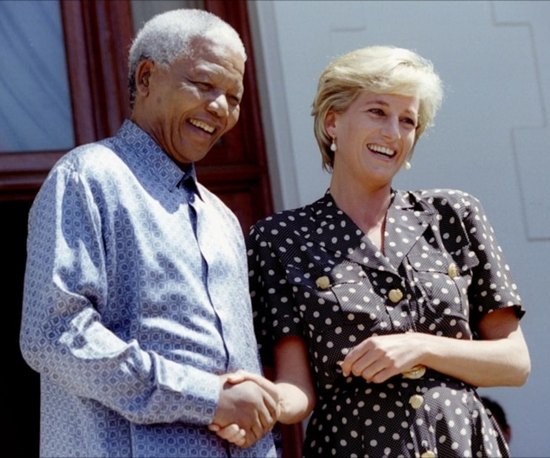 This image shows Princess Diana shaking hands with Nelson Mandela in South Africa in 1997.