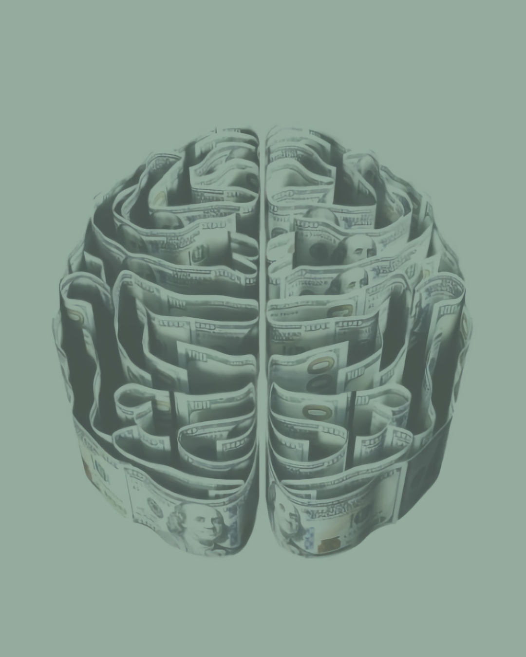 This image represents neurodivergence with a cartoon of a brain on a green background looking almost like a maze.
