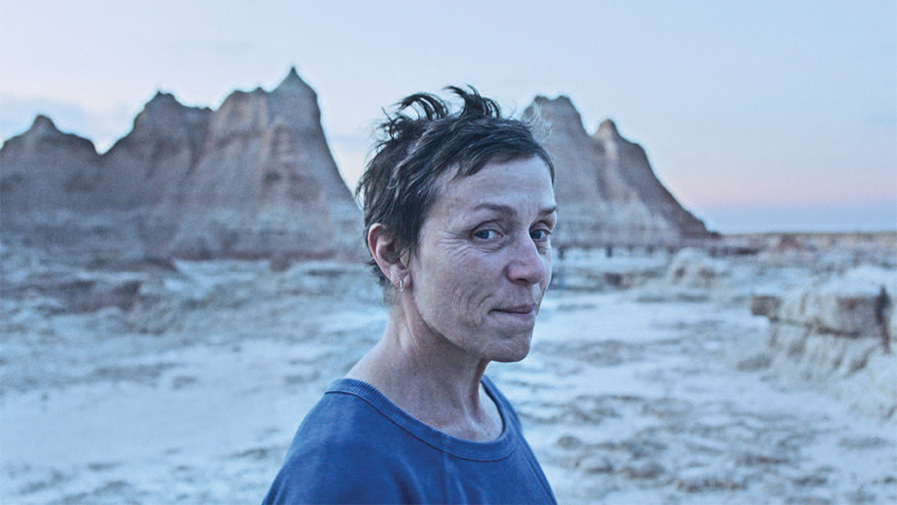 Nomadland film cover is pictured here featuring francis mcdormand after sweeping oscars.