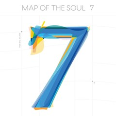 The image is the cover of one of BTS' albums, Map of the Soul. It features that title at the top and a blue number 7 as the feature.